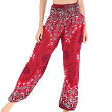 Load image into Gallery viewer, Hummingbird Mandala Paisley Print Loose Yoga Pants (Rayon) made of fast dry, soft and breathable material, perfect for meditation, dancing, yoga, summer vacation and street wear