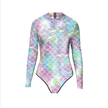 Load image into Gallery viewer, Hummingbird Mermaid Back Zip Long Sleeve One Piece Rash Guard made of soft, breathable and high colorfastness fabric