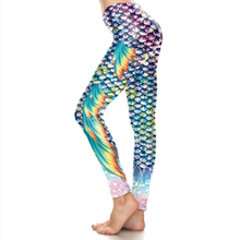 Load image into Gallery viewer, Hummingbird Mermaid Fish Scale Double Fin Print Leggings