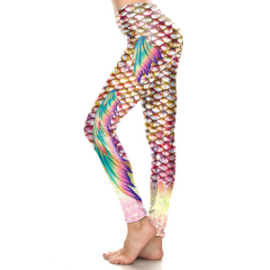 Hummingbird Mermaid Fish Scale Double Fin Print Leggings