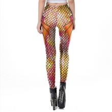 Load image into Gallery viewer, Hummingbird Mermaid Fish Scale Long Fin Print Leggings