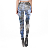 Hummingbird Mermaid Fish Scale Long Fin Print Leggings