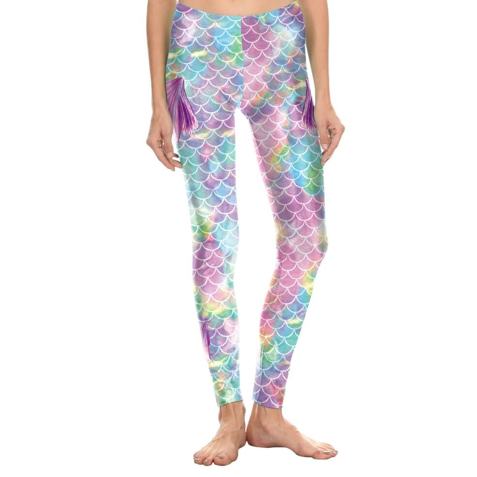 Hummingbird Mermaid Fish Scale Small Fin Print Leggings - Front