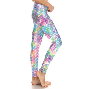 Hummingbird Mermaid Fish Scale Small Fin Print Leggings