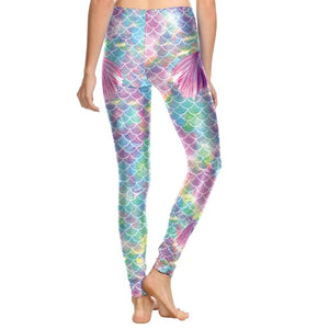 Hummingbird Mermaid Fish Scale Small Fin Print Leggings - Back