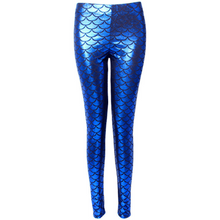 Load image into Gallery viewer, Complete your mermaid look with these Hummingbird Mermaid Metallic Fish Scale Print Leggings For Adults - Royal Blue, featuring a metallic sheen, stretchy and comfortable material and an elastic waistband. Perfect as a part of a Halloween cosplay costume, an under-the-sea party, Christmas or casual wear. Sizes S to 4XL. These Mermaid Metallic Fish Scale Print Leggings For Adults belong to our Halloween Specials collection.