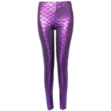 Load image into Gallery viewer, Complete your mermaid look with these Hummingbird Mermaid Metallic Fish Scale Print Leggings For Adults - Purple, featuring a metallic sheen, stretchy and comfortable material and an elastic waistband. Perfect as a part of a Halloween cosplay costume, an under-the-sea party, Christmas or casual wear. Sizes S to 4XL. These Mermaid Metallic Fish Scale Print Leggings For Adults belong to our Halloween Specials collection.