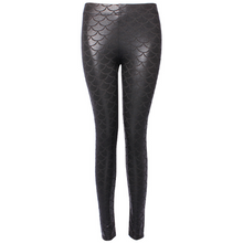 Load image into Gallery viewer, Complete your mermaid look with these Hummingbird Mermaid Metallic Fish Scale Print Leggings For Adults - Black, featuring a metallic sheen, stretchy and comfortable material and an elastic waistband. Perfect as a part of a Halloween cosplay costume, an under-the-sea party, Christmas or casual wear. Sizes S to 4XL. These Mermaid Metallic Fish Scale Print Leggings For Adults belong to our Halloween Specials collection.