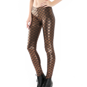 Complete your mermaid look with these Hummingbird Mermaid Metallic Fish Scale Print Leggings For Adults - Bronze, featuring a metallic sheen, stretchy and comfortable material and an elastic waistband. Perfect as a part of a Halloween cosplay costume, an under-the-sea party, Christmas or casual wear. Sizes S to 4XL. These Mermaid Metallic Fish Scale Print Leggings For Adults belong to our Halloween Specials collection.