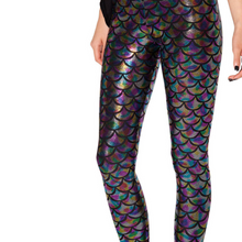 Load image into Gallery viewer, Complete your mermaid look with these Hummingbird Mermaid Metallic Fish Scale Print Leggings For Adults - Multicolored, featuring a metallic sheen, stretchy and comfortable material and an elastic waistband. Perfect as a part of a Halloween cosplay costume, an under-the-sea party, Christmas or casual wear. Sizes S to 4XL. These Mermaid Metallic Fish Scale Print Leggings For Adults belong to our Halloween Specials collection.