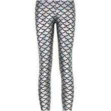 Load image into Gallery viewer, Complete your mermaid look with these Hummingbird Mermaid Metallic Fish Scale Print Leggings For Adults - Silver, featuring a metallic sheen, stretchy and comfortable material and an elastic waistband. Perfect as a part of a Halloween cosplay costume, an under-the-sea party, Christmas or casual wear. Sizes S to 4XL. These Mermaid Metallic Fish Scale Print Leggings For Adults belong to our Halloween Specials collection.