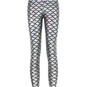 Complete your mermaid look with these Hummingbird Mermaid Metallic Fish Scale Print Leggings For Adults - Silver, featuring a metallic sheen, stretchy and comfortable material and an elastic waistband. Perfect as a part of a Halloween cosplay costume, an under-the-sea party, Christmas or casual wear. Sizes S to 4XL. These Mermaid Metallic Fish Scale Print Leggings For Adults belong to our Halloween Specials collection.