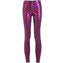 Load image into Gallery viewer, Complete your mermaid look with these Hummingbird Mermaid Metallic Fish Scale Print Leggings For Adults - Magenta, featuring a metallic sheen, stretchy and comfortable material and an elastic waistband. Perfect as a part of a Halloween cosplay costume, an under-the-sea party, Christmas or casual wear. Sizes S to 4XL. These Mermaid Metallic Fish Scale Print Leggings For Adults belong to our Halloween Specials collection.