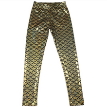Load image into Gallery viewer, Complete your mermaid look with these Hummingbird Mermaid Metallic Fish Scale Print Leggings For Adults - Champagne, featuring a metallic sheen, stretchy and comfortable material and an elastic waistband. Perfect as a part of a Halloween cosplay costume, an under-the-sea party, Christmas or casual wear. Sizes S to 4XL. These Mermaid Metallic Fish Scale Print Leggings For Adults belong to our Halloween Specials collection.