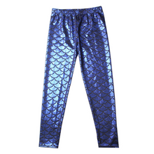 Load image into Gallery viewer, Complete the mermaid look with these Hummingbird Mermaid Metallic Fish Scale Print Leggings For Kids - Royal Blue, featuring a metallic sheen, stretchy and comfortable material and an elastic waistband. Perfect as a part of a Halloween cosplay costume, an under-the-sea party, Christmas or casual wear. These Mermaid Metallic Fish Scale Print Leggings For Kids belong to our Halloween Specials collection.