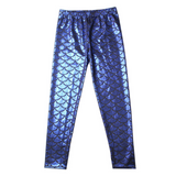Hummingbird Mermaid Metallic Fish Scale Print Leggings For Kids