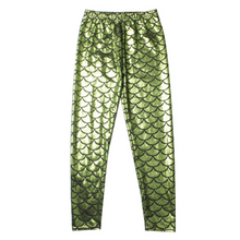 Load image into Gallery viewer, Complete the mermaid look with these Hummingbird Mermaid Metallic Fish Scale Print Leggings For Kids - Light Green, featuring a metallic sheen, stretchy and comfortable material and an elastic waistband. Perfect as a part of a Halloween cosplay costume, an under-the-sea party, Christmas or casual wear. These Mermaid Metallic Fish Scale Print Leggings For Kids belong to our Halloween Specials collection.