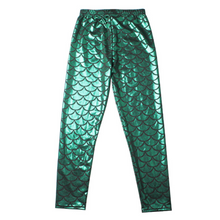 Load image into Gallery viewer, Complete the mermaid look with these Hummingbird Mermaid Metallic Fish Scale Print Leggings For Kids - Green, featuring a metallic sheen, stretchy and comfortable material and an elastic waistband. Perfect as a part of a Halloween cosplay costume, an under-the-sea party, Christmas or casual wear. These Mermaid Metallic Fish Scale Print Leggings For Kids belong to our Halloween Specials collection.