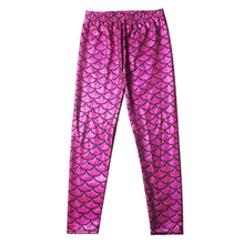 Load image into Gallery viewer, Complete the mermaid look with these Hummingbird Mermaid Metallic Fish Scale Print Leggings For Kids - Magenta, featuring a metallic sheen, stretchy and comfortable material and an elastic waistband. Perfect as a part of a Halloween cosplay costume, an under-the-sea party, Christmas or casual wear. These Mermaid Metallic Fish Scale Print Leggings For Kids belong to our Halloween Specials collection.