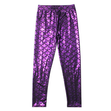 Load image into Gallery viewer, Complete the mermaid look with these Hummingbird Mermaid Metallic Fish Scale Print Leggings For Kids - Purple, featuring a metallic sheen, stretchy and comfortable material and an elastic waistband. Perfect as a part of a Halloween cosplay costume, an under-the-sea party, Christmas or casual wear. These Mermaid Metallic Fish Scale Print Leggings For Kids belong to our Halloween Specials collection.