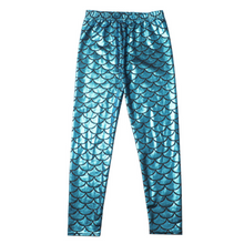 Load image into Gallery viewer, Complete the mermaid look with these Hummingbird Mermaid Metallic Fish Scale Print Leggings For Kids - Light Blue, featuring a metallic sheen, stretchy and comfortable material and an elastic waistband. Perfect as a part of a Halloween cosplay costume, an under-the-sea party, Christmas or casual wear. These Mermaid Metallic Fish Scale Print Leggings For Kids belong to our Halloween Specials collection.