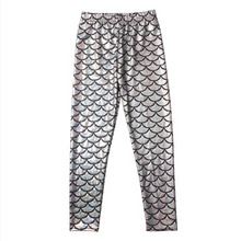 Load image into Gallery viewer, Complete the mermaid look with these Hummingbird Mermaid Metallic Fish Scale Print Leggings For Kids - Silver, featuring a metallic sheen, stretchy and comfortable material and an elastic waistband. Perfect as a part of a Halloween cosplay costume, an under-the-sea party, Christmas or casual wear. These Mermaid Metallic Fish Scale Print Leggings For Kids belong to our Halloween Specials collection.