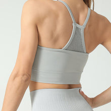 Load image into Gallery viewer, Hummingbird High Rise Mesh Block Sports Bra - Grey - Back