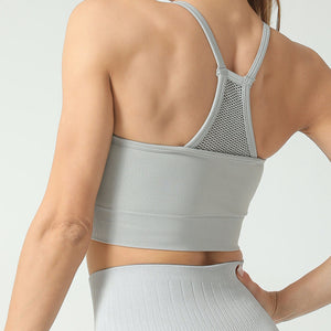 Hummingbird High Rise Mesh Block Sports Bra - Grey - Back
