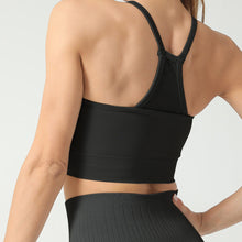 Load image into Gallery viewer, Hummingbird High Rise Mesh Block Sports Bra - Black - Back