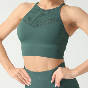 Hummingbird High Rise Mesh Block Sports Bra - Green - Front