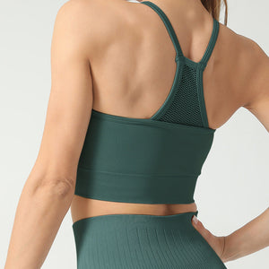 Hummingbird High Rise Mesh Block Sports Bra - Green - Back