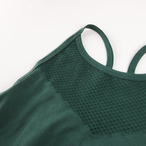 Hummingbird High Rise Mesh Block Sports Bra - Green - Front Mesh Block