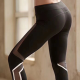 Mesh Cropped Leggings With Reflective Stripes