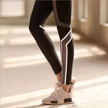 Load image into Gallery viewer, Mesh Cropped Leggings With Reflective Stripes