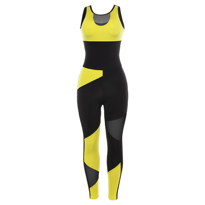 Hummingbird Mesh Cutout Sleeveless Patchwork Workout Jumpsuit