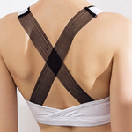 Mesh Deep V Ribbon Strap Sports Bra