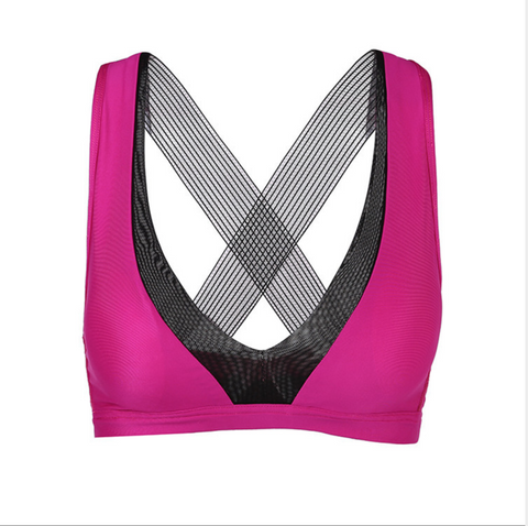Hummingbird Mesh Deep V Ribbon Strap Sports Bra
