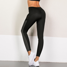 Load image into Gallery viewer, Hummingbird Mesh Stripe Color Block Cropped Leggings