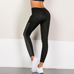 Hummingbird Mesh Stripe Color Block Cropped Leggings