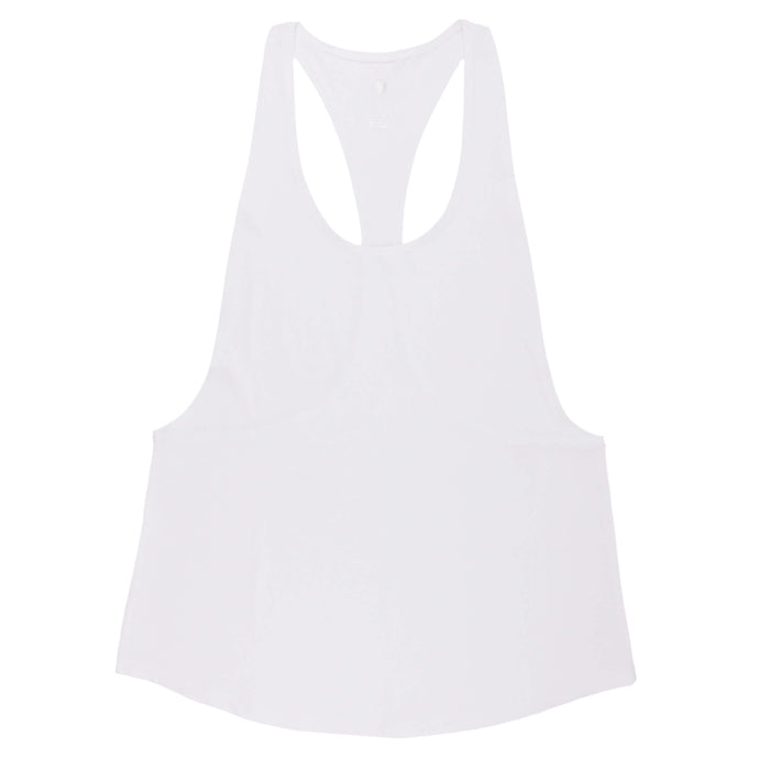 Hummingbird Minimalist Loose Workout Tank Top - White - Front