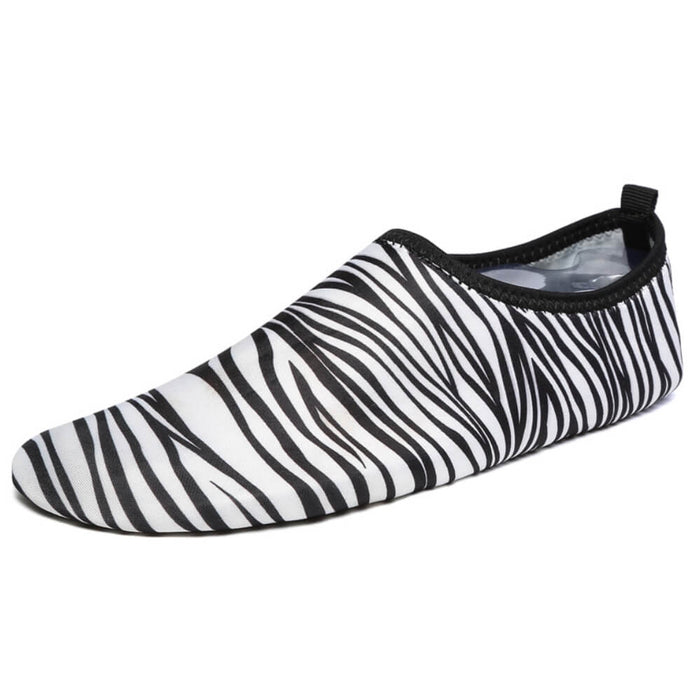 Hummingbird Zebra Print Minimalist Water Shoes - White Zebra