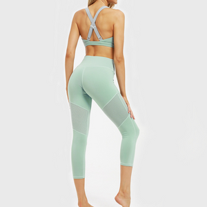 Hummingbird Mint Mesh Cropped Leggings with mesh on the thighs. Perfect for workout and yoga