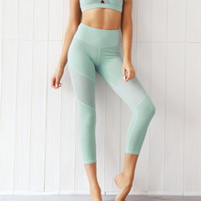Load image into Gallery viewer, Hummingbird Mint Mesh Cropped Leggings with mesh on the thighs. Perfect for workout and yoga