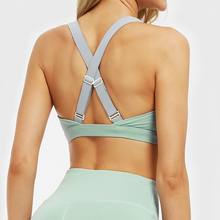 Load image into Gallery viewer, Hummingbird Mint Cutout Adjustable Strap Sports Bra with adjustable elastic back straps, front cutout and high-rise design