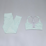 Hummingbird Mint Sports Set containing a Mint Cutout Adjustable Strap Sports Bra with adjustable elastic back straps, front cutout design and a pair of Mint Mesh Cropped Leggings with mesh on the thighs