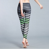 Hummingbird gradient Multicolored Striped Cropped Leggings are made of high color fastness, breathable, fast dry fabric and high spandex fitted fabric