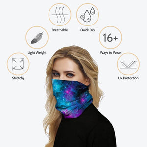 Keep yourself away from the sun, dust, and more with this Galaxy Print Multifunctional Neck Gaiter! Digital printing technology creates a variety of vivid patterns. Seamless edges maximize the stretch at the ends. This Galaxy Print Multifunctional Neck Gaiter is so versatile that there are 16+ ways to wear it. Perfect for all sorts of indoor and outdoor activities with UV protection and odor control. Made of microfiber fabric that's lightweight, quick dry, breathable, stretchy and soft.