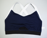 Hummingbird Navy Sports high rise Bra with a silver metallic band and elastic shoulder straps.