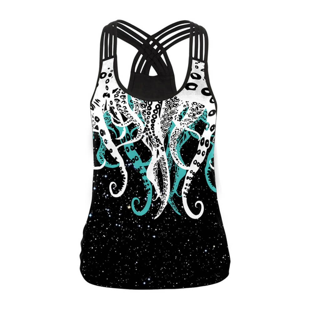 Hummingbird Octopus Strappy Crisscross Tank Top - Front