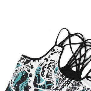 Hummingbird Octopus Strappy Crisscross Tank Top - Details